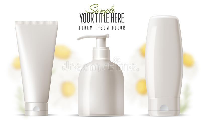 Cosmetic brand template. Realistic bottle set. Cosmetic brand template. Vector packaging. Body care products with a camomile on a background. Oil, lotion or royalty free illustration