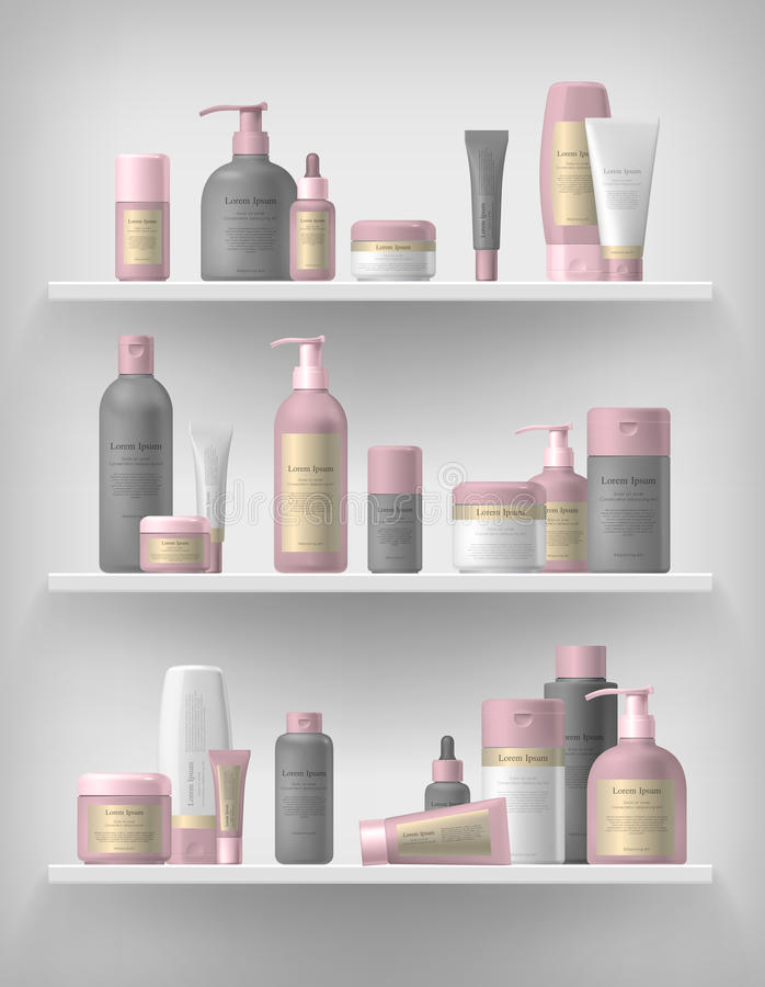 Cosmetic brand template. Realistic bottle set. stock illustration