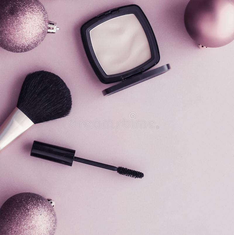 Make-up and cosmetics product set for beauty brand Christmas sale promotion, luxury purple flatlay background as holiday design royalty free stock photography