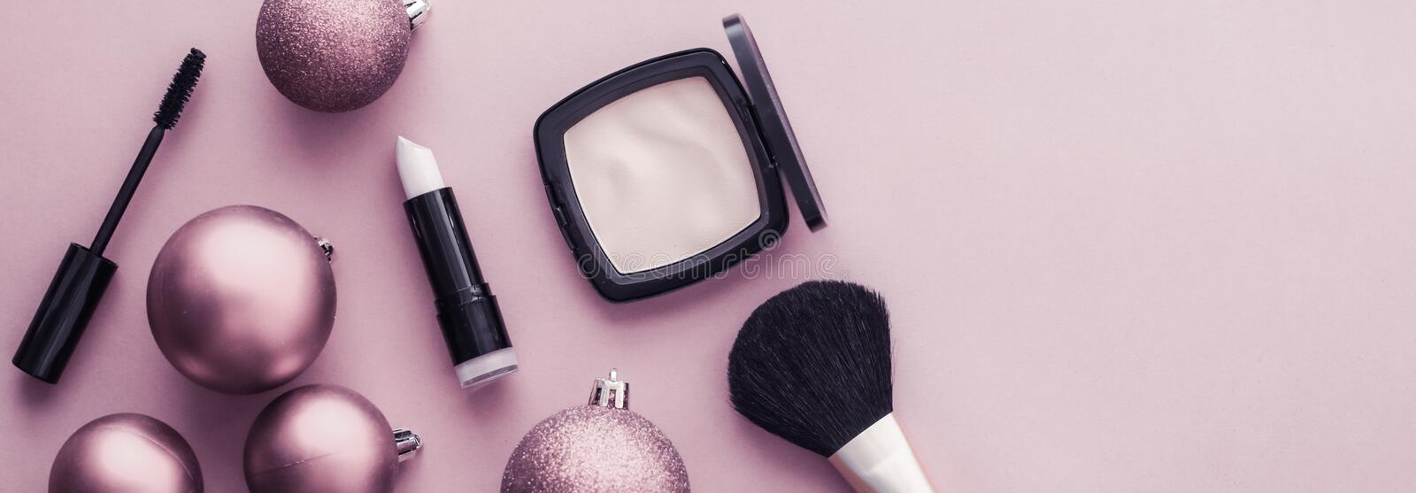 Make-up and cosmetics product set for beauty brand Christmas sale promotion, luxury purple flatlay background as holiday design royalty free stock photos