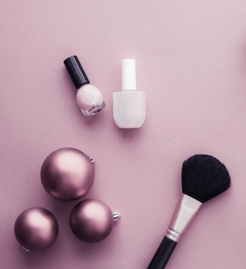 Make-up and cosmetics product set for beauty brand Christmas sale promotion, luxury purple flatlay background as holiday design stock photos