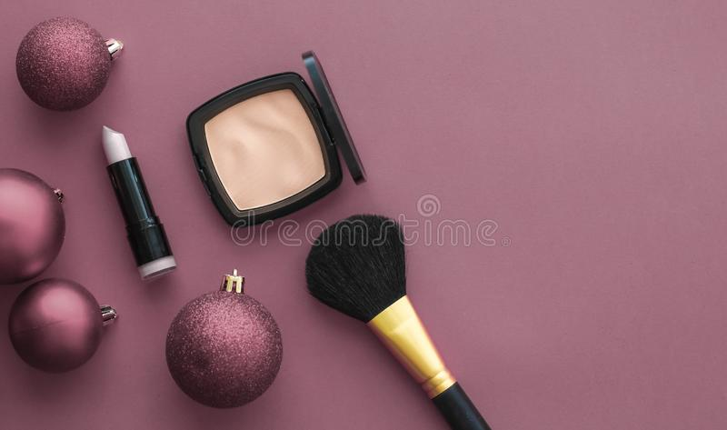 Make-up and cosmetics product set for beauty brand Christmas sale promotion, luxury purple flatlay background as holiday design stock photography