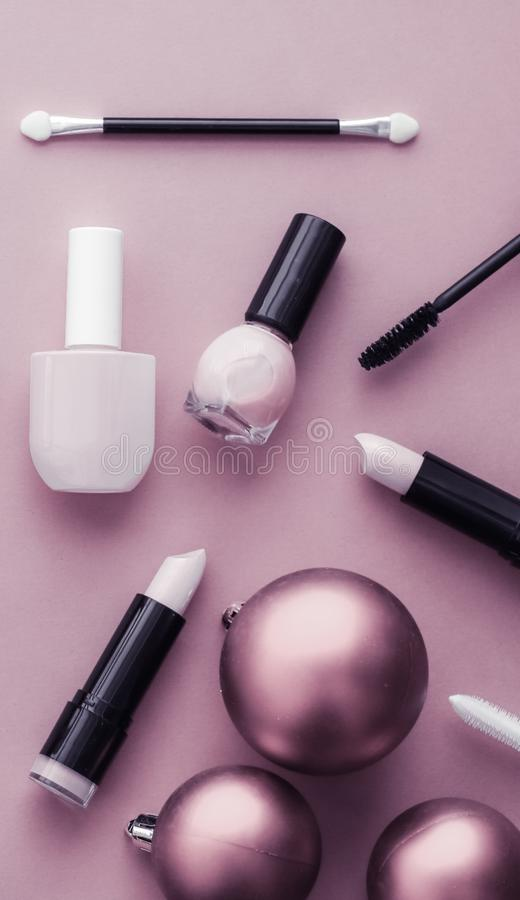 Make-up and cosmetics product set for beauty brand Christmas sale promotion, luxury purple flatlay background as holiday design royalty free stock image