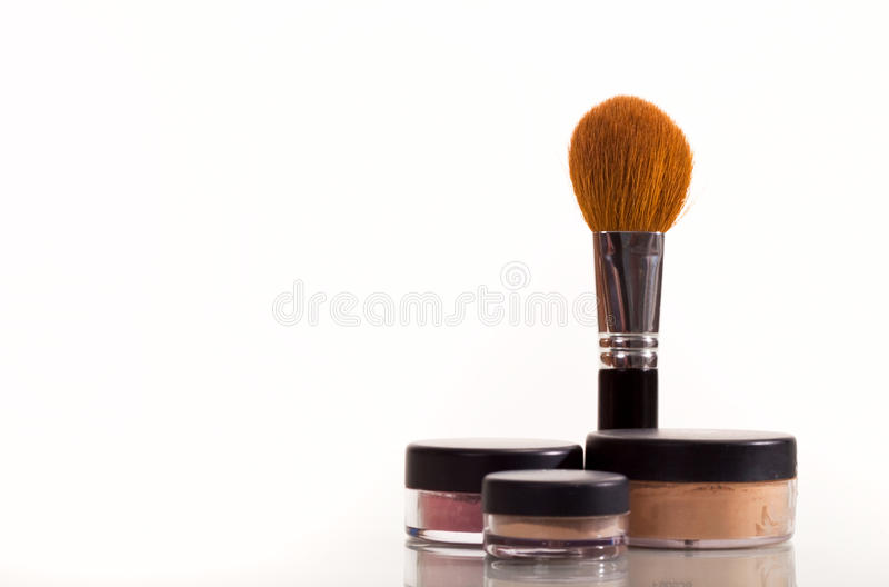 Download Cosmetic brush stock photo. Image of pots, coverup, isolated - 10191560