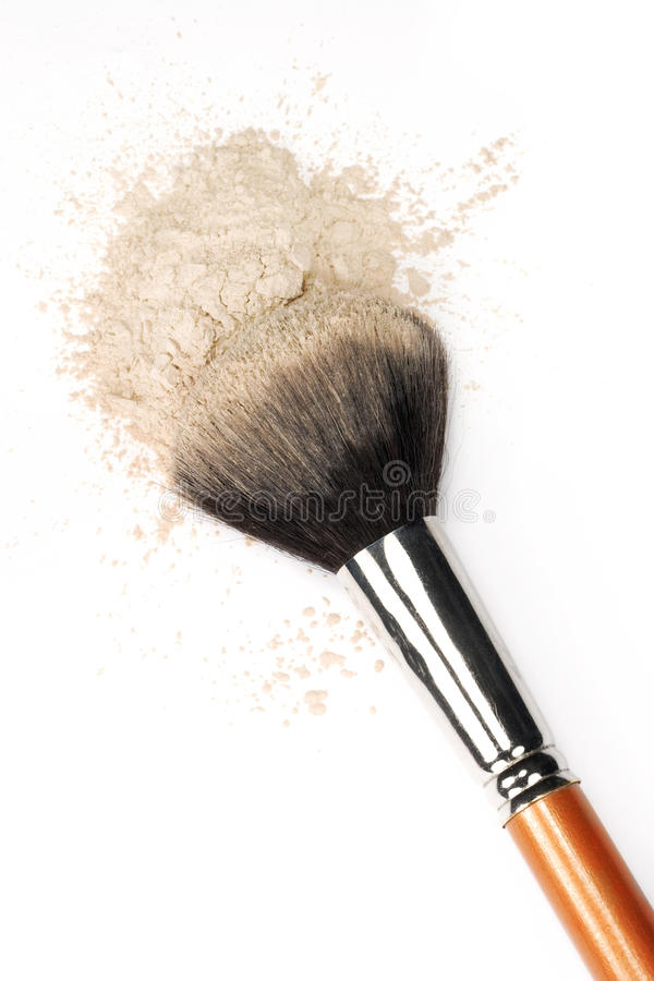 Cosmetic Brush & Powder. A large natural bristle cosmetic brush and loose face powder on white background royalty free stock photography
