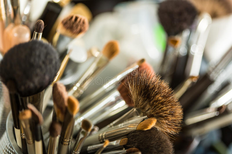 Cosmetic brushes for makeup stock photos