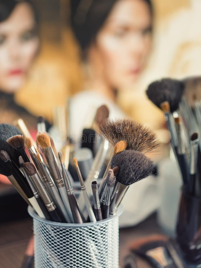 Cosmetic brushes for makeup stock images