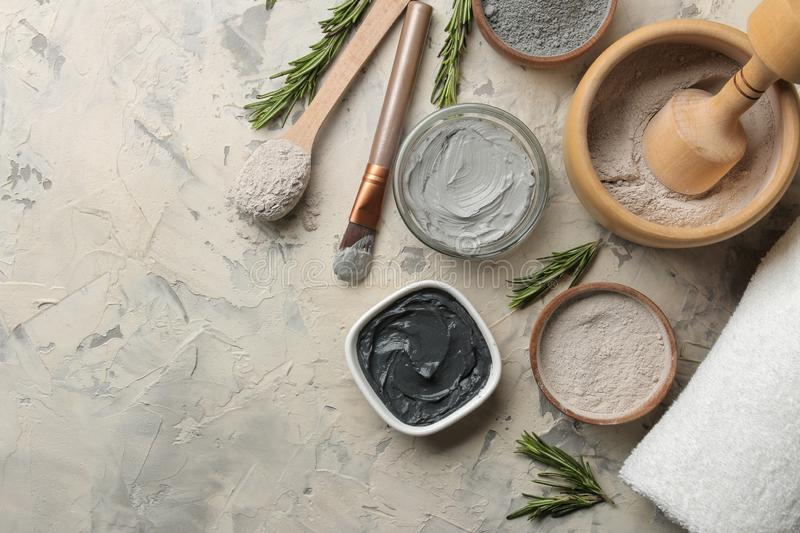 Cosmetic clay. clay facial mask on a light background. different types of clay. natural cosmetics for cosmetic procedures. Beauty. Concept. top view stock images