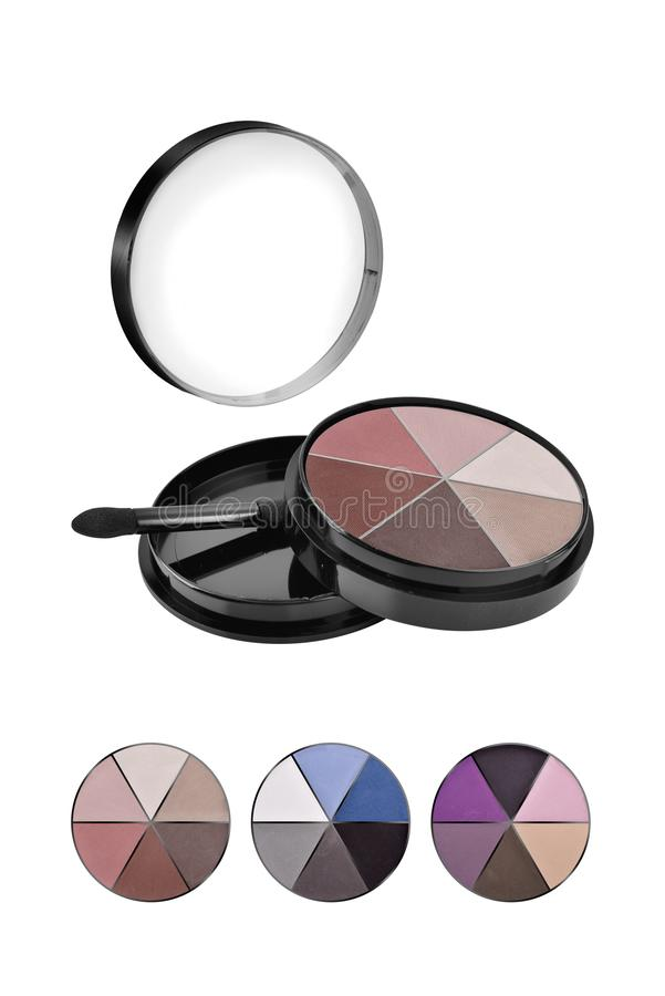 Cosmetic compact face powder, mixed colors set and three different samples, beauty products isolated on white background, clipping royalty free stock photos