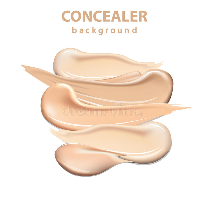 Cosmetic concealer smear strokes isolated on white background, tone cream smudged Vector. royalty free illustration