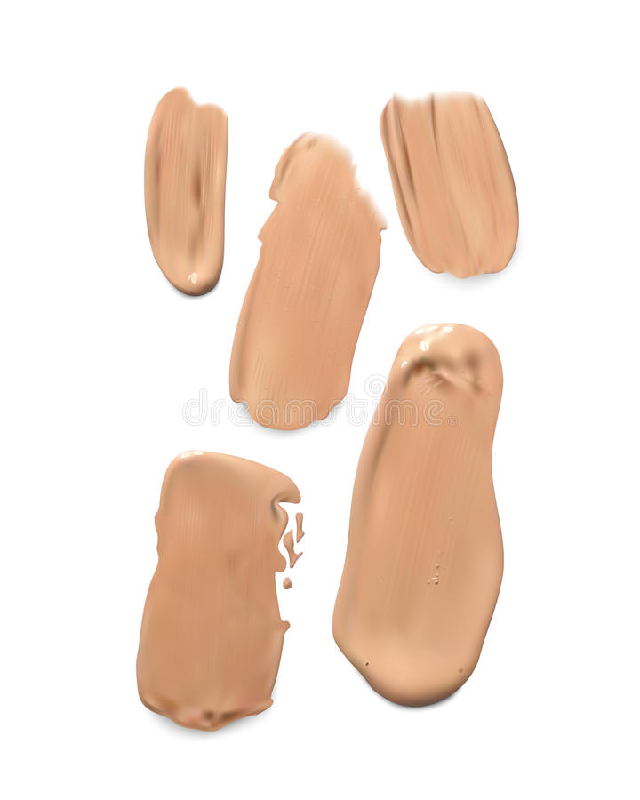 Cosmetic concealer smear strokes, tone cream smudged Vector. vector illustration