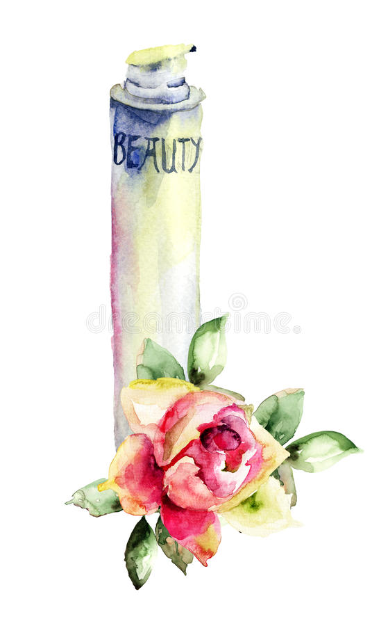 Cosmetic container. Watercolor illustration of cosmetic container royalty free illustration