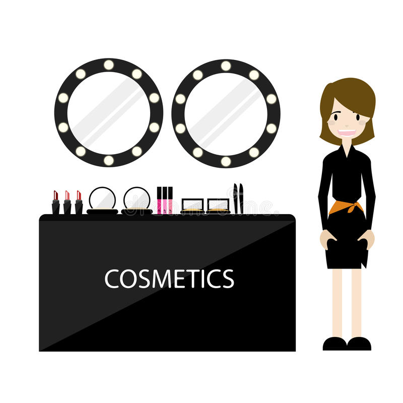 Cosmetic counter Duty Free in airport. stock photo