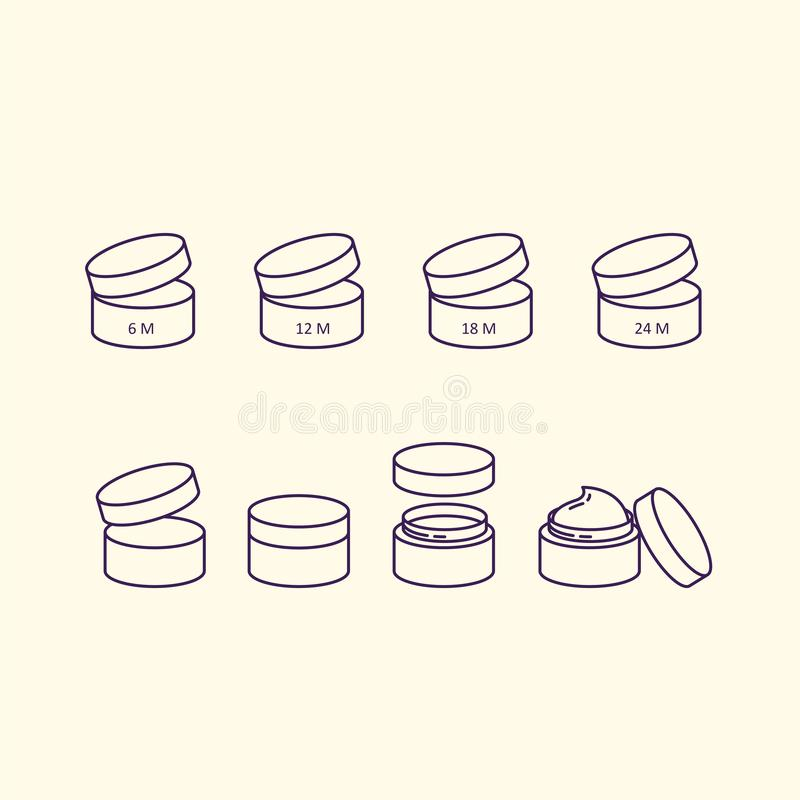 Cosmetic cream bottles symbols icon set. Beauty vials best before. stock illustration