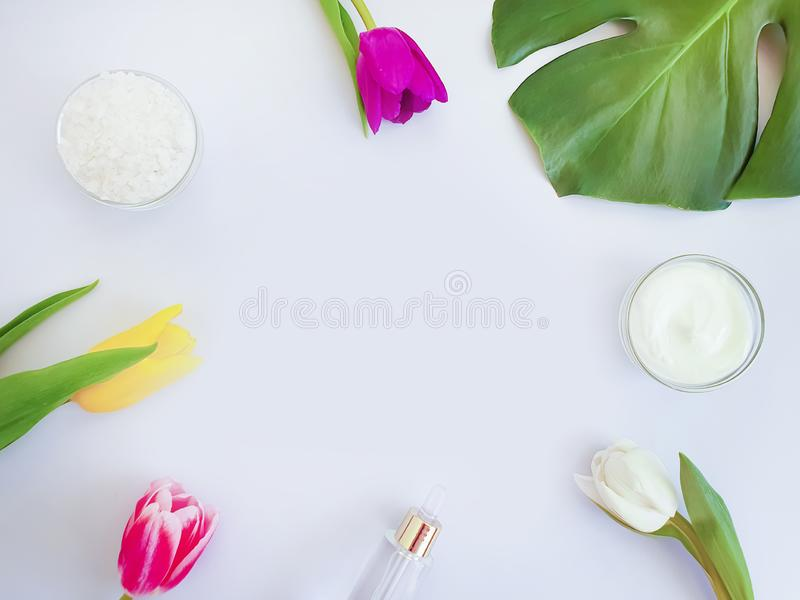 Cosmetic cream essence, flower tulip, natural springtime product monstera leaf salt on a colored background stock photos