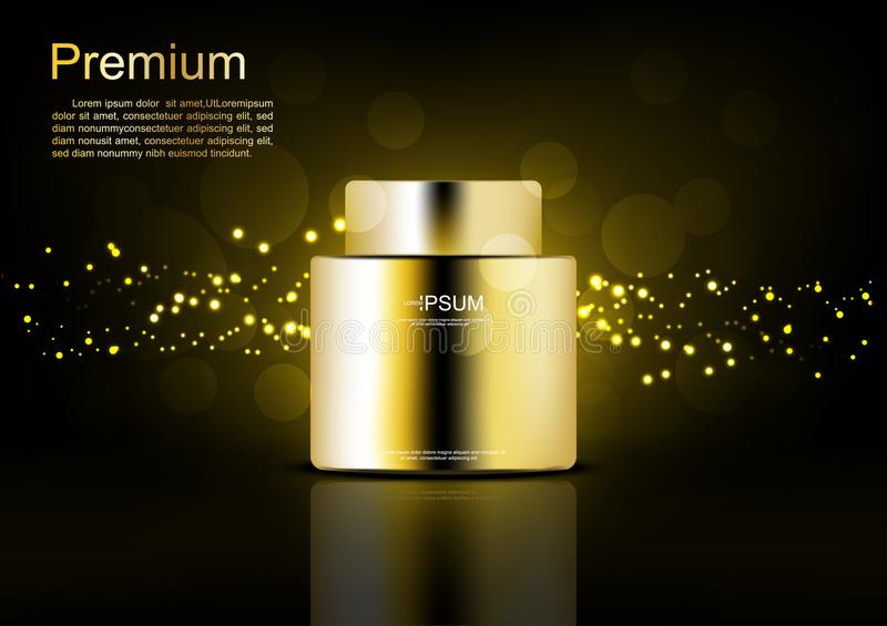 Cosmetic cream with gold glowing lights on black background.  stock illustration