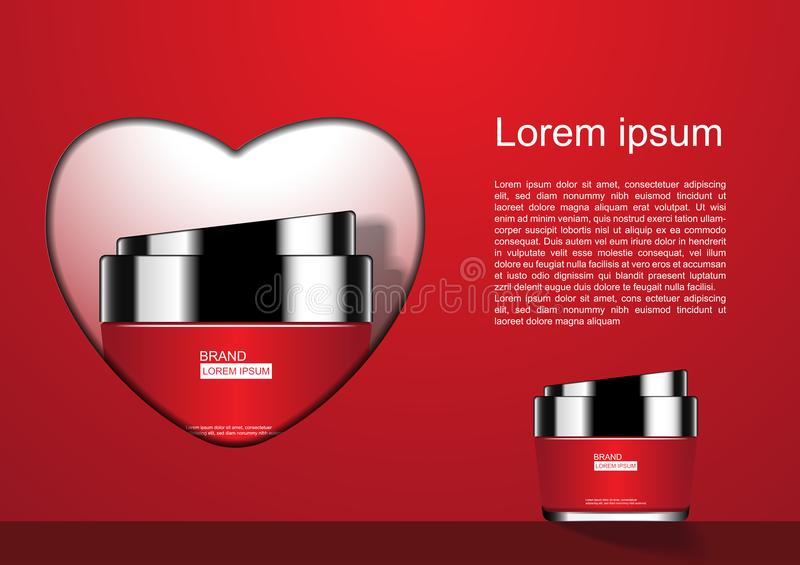 Cosmetic cream in heart shape with template on red background.  stock illustration