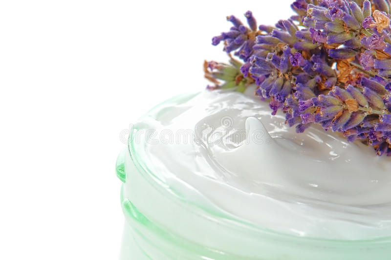 Download Cosmetic Cream In A Jar And Lavender Flowers Stock Image - Image: 20321231