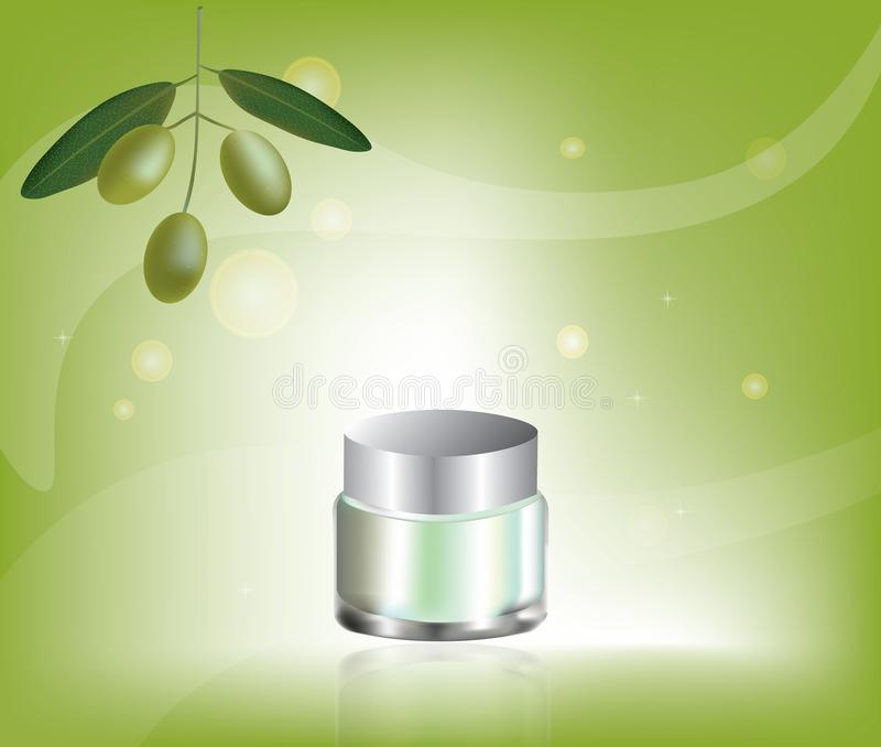 Cosmetic cream with olive oil. Vector stock illustration