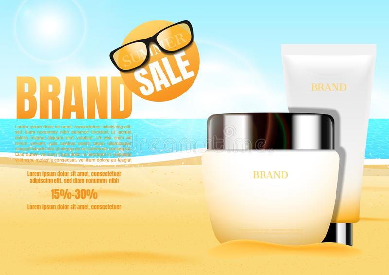 Cosmetic cream with sand and sunglasses on blue sea background. Summer theme