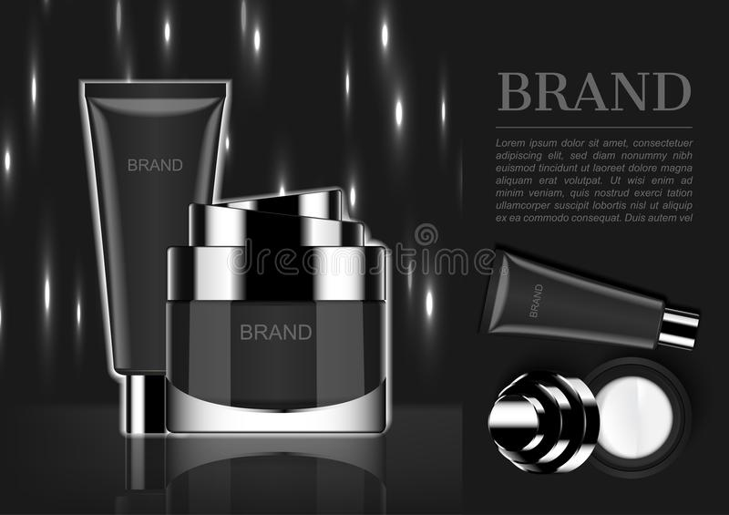 Cosmetic cream with white lights on dark background.  stock illustration