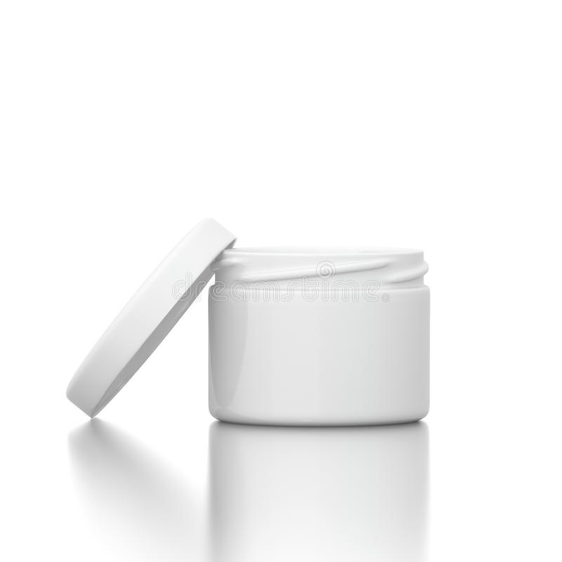 Cosmetic creme with open cap. Isolated on white background royalty free illustration