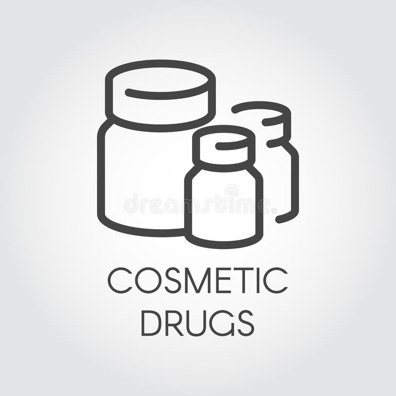 Cosmetic drugs icon. Beauty products - vitamins, supplements and lotions for skin care. Healthcare and cosmetology. Cosmetic drugs graphic icon. Beauty products vector illustration