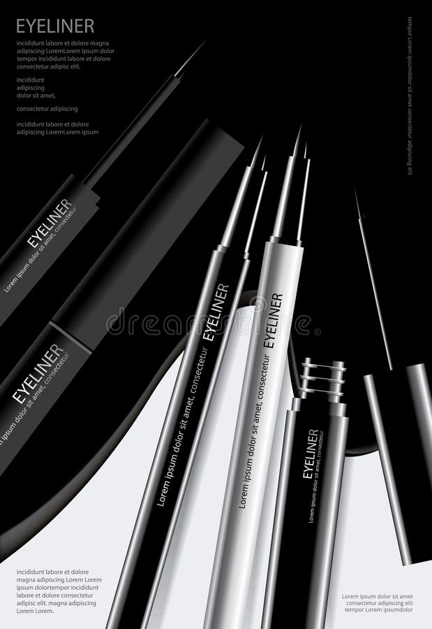 Cosmetic Eyeliner with Packaging Poster Design. Vector Illustration vector illustration