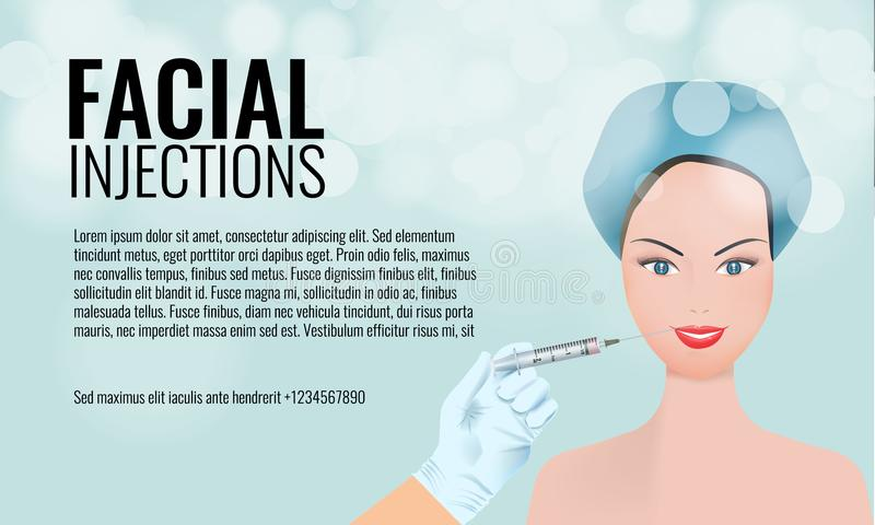 Cosmetic facial injections ad layout template. 3d woman face and hand holding syringe. Illustrated vector. vector illustration