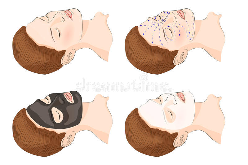 Cosmetic facial mask. Illustration of the face and cosmetic mask stock illustration