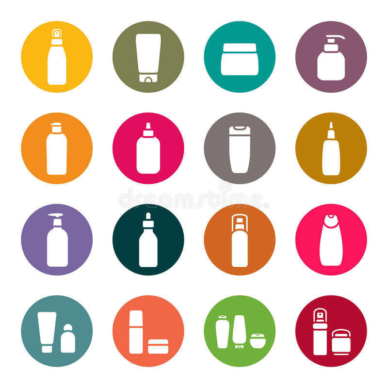 Cosmetic flasks icon set vector illustration