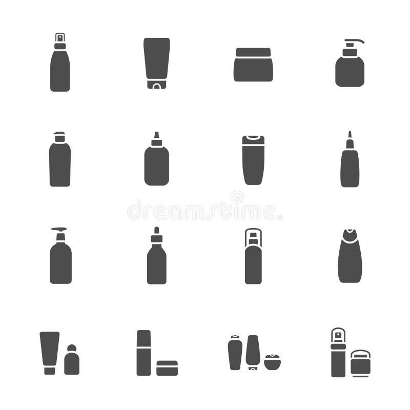 Cosmetic flasks icon set.  stock illustration