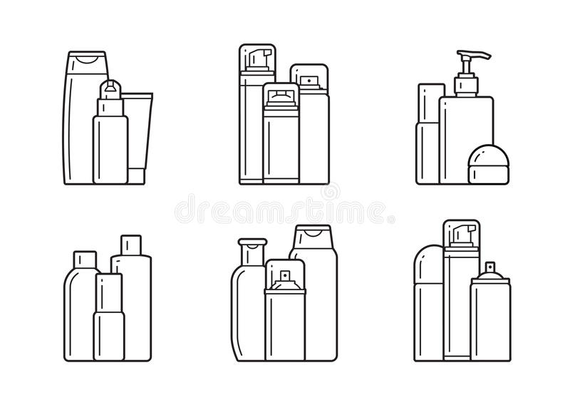 Cosmetic. Flat icons. Set of cosmetic icons on a white background stock illustration