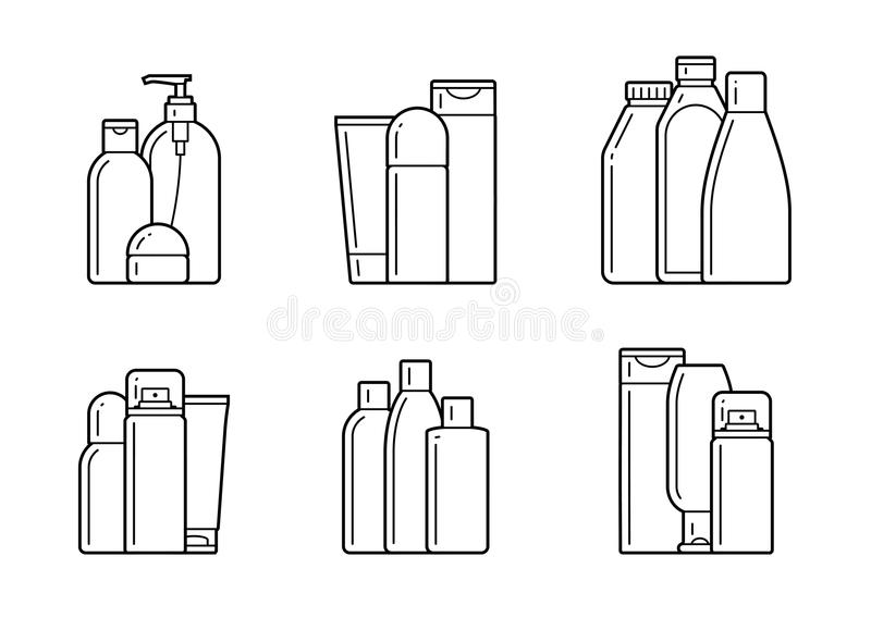 Cosmetic. Flat icons. Set of cosmetic icons on a white background royalty free illustration