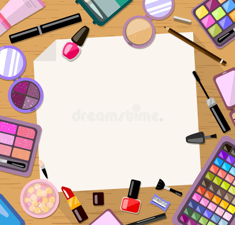 Cosmetic frame background. Bright flat product. Card, invitation, banner template. stock illustration