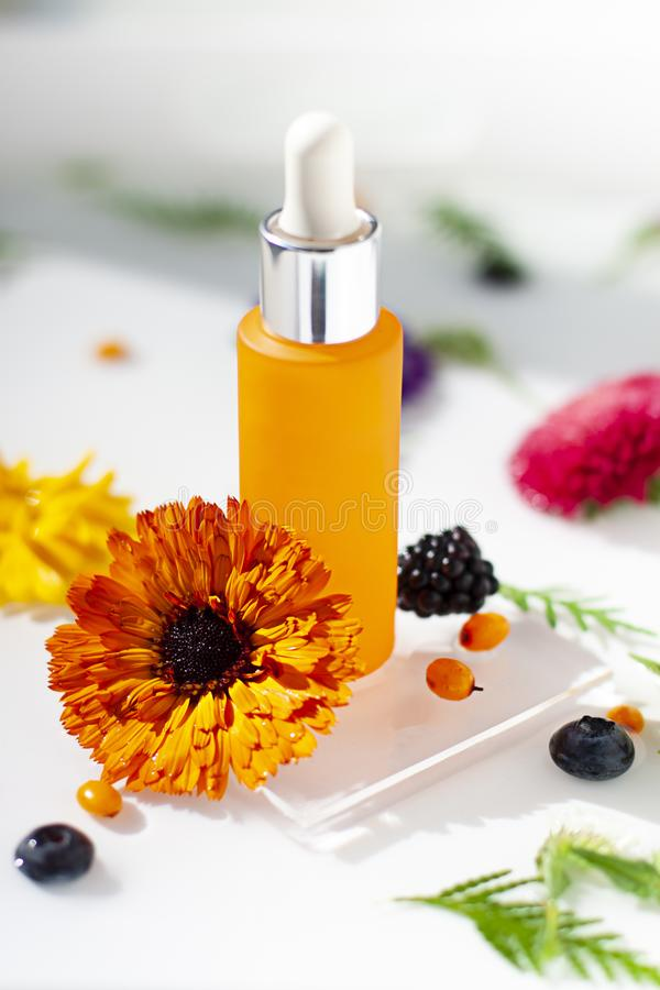 Cosmetic glass bottle with organic calendula and berries extracts or oils in the water background. Hydrating serum with antioxidants, vitamin C or peeling royalty free stock photography