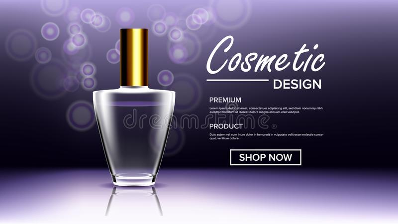 Cosmetic Glass Poster Vector. Bottle. Premium Jar. Medical Moisturizer. 3D Transparent Realistic Mockup royalty free illustration