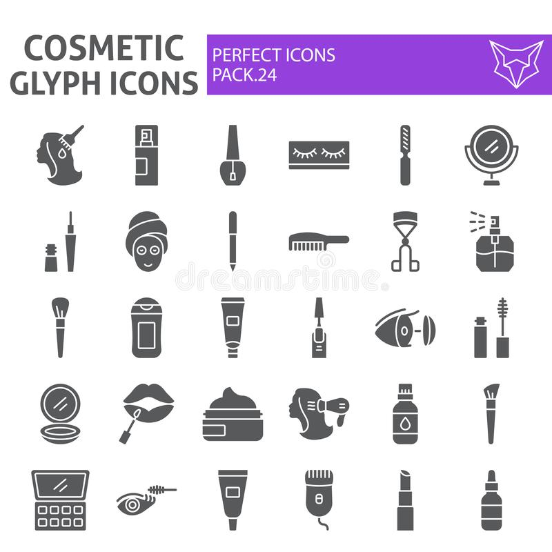 Cosmetic glyph icon set, makeup symbols collection, vector sketches, logo illustrations, beauty signs solid pictograms. Package isolated on white background stock illustration