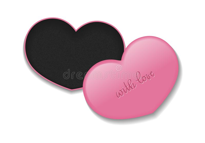 Cosmetic heart shaped box for makeup products with inscription. Vector isolated template.  stock illustration
