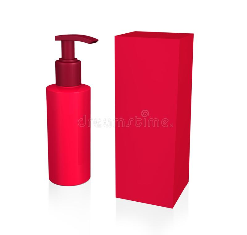 Cosmetic, Hygiene, Medical Plastic Bottle Of Gel, Liquid Soap, Lotion, Cream, Shampoo With Box. Mock Up Ready For Your Design. On stock illustration