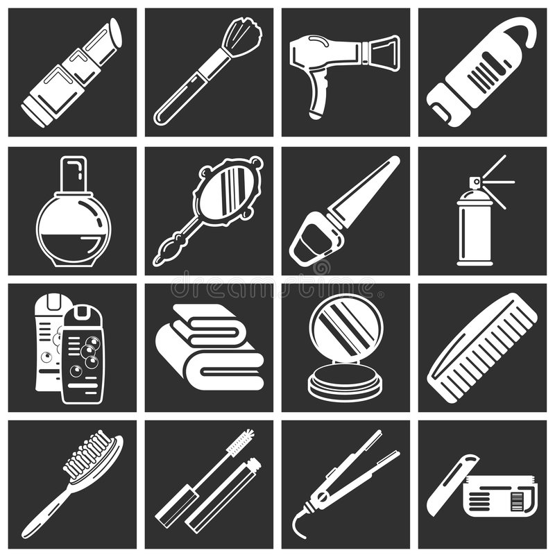 Cosmetic icons stock photography