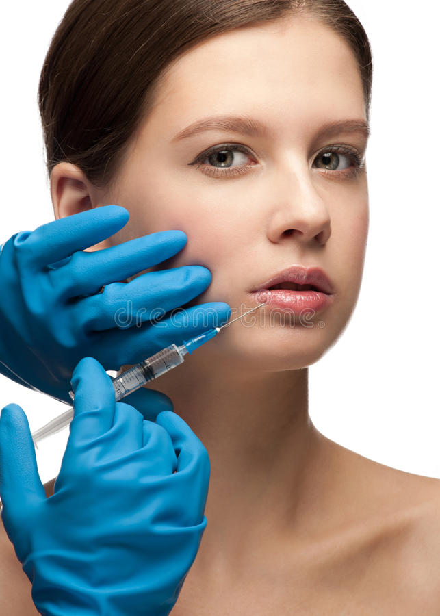 Cosmetic injection of botox stock photo