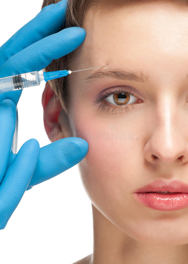 Cosmetic injection of botox stock photography