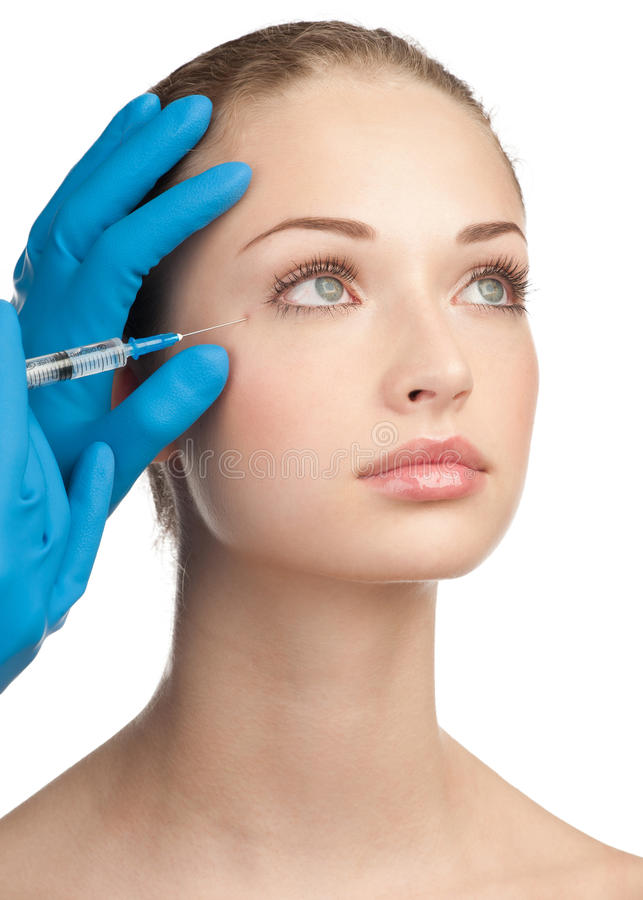 Cosmetic injection of botox royalty free stock photos