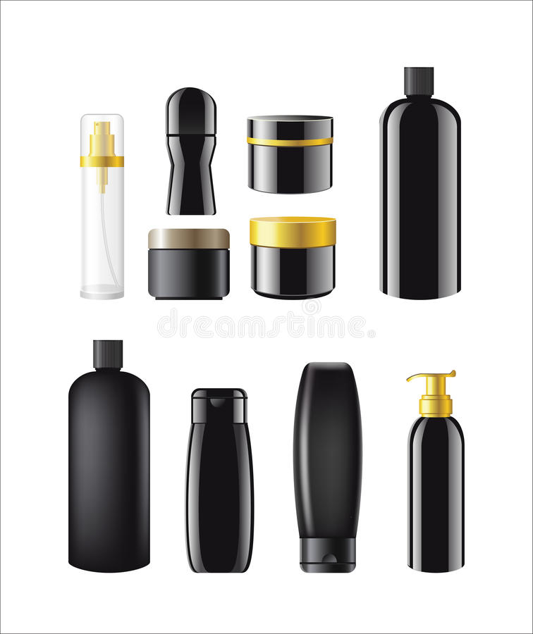 Cosmetic Items Packaging - realistic vector set of objects. Cosmetic Items Packaging- realistic vector tubes, bottles, jars templates set. White background. Use vector illustration
