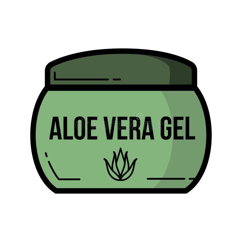 Cosmetic jar aloe vera product icon, Flat design. Of alternative medicine, cosmetology product and healthcare stock illustration