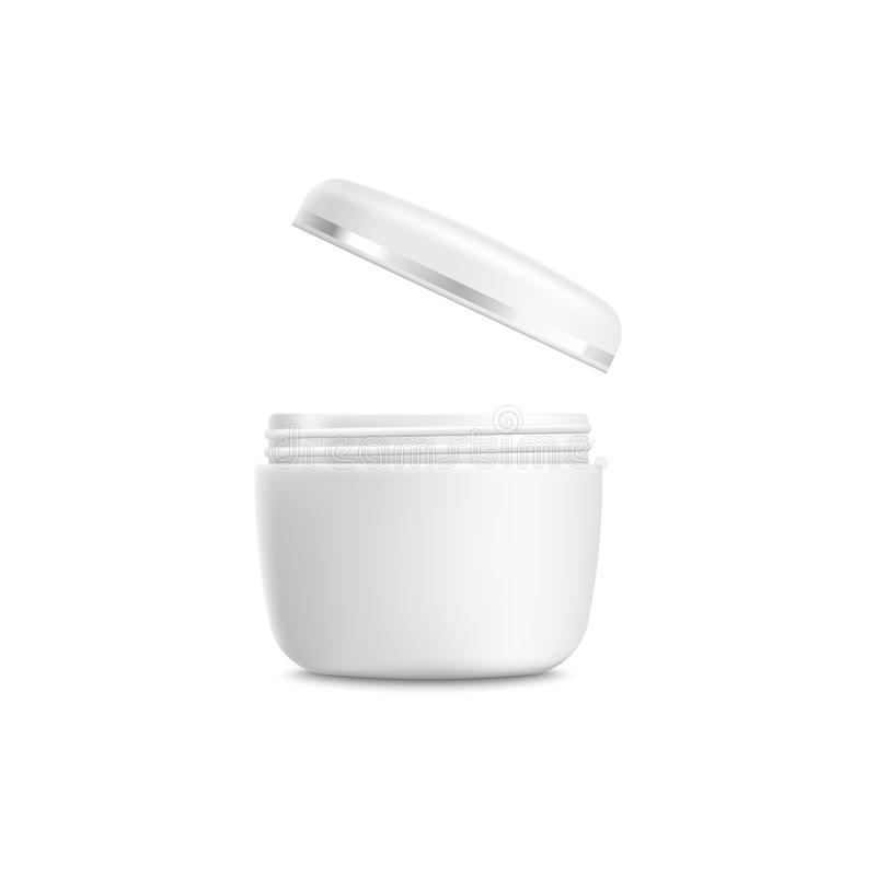 Cosmetic jar mockup with flying lid - realistic open plastic container of beauty product vector illustration
