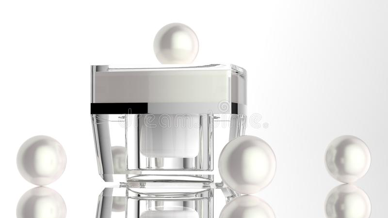 Cosmetic jar, skin care acrylic container with cream. Cover was opened.3d illustrate. 3D rendering Skin care acrylic jar with pearls in the concept of natural