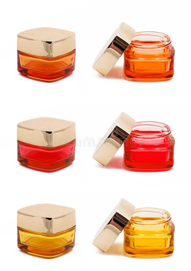 Cosmetic jars isolated royalty free stock images