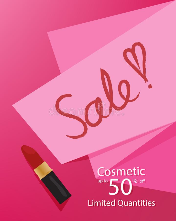 Cosmetic ladies sale template banner, discount clearance up to 50% off, with a pink paper and lipstick on a pink background vector illustration